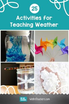 Help your students understand weather patterns and systems with these 25 fun, hands-on ideas for weather activities in the classroom. Teaching Weather, Weather Science, Weather Activities, Work Activities, Family Activities, Weather Lessons, Outdoor Learning, Tornadoes, Science Lessons