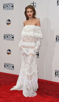 This white lacy off-the-shoulder dress was the first of Gigi Hadid's six looks at the 2016 American Music Awards last night.