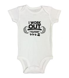 "Cute Baby Boy Gym Onesie "" I Work Out Just Kidding Take Naps "" - Kids Gym Bodysuits - Funny Kids Clothing  - Long sleeve option - 345"