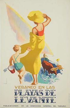 Vintage Travel Poster - Playas de Levante - Spain - by Jose Morell.