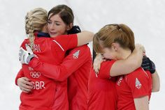 DAY 14:  Team Great Britain celebrates winning bronze during the Curling Women's Bronze Medal Game - Great Britain vs. Switzerland http://sports.yahoo.com/olympics