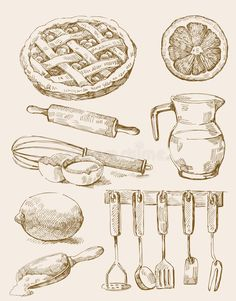Art Drawings Sketches Simple, Pencil Art Drawings, Easy Drawings, Food Sketch, Object Drawing, Drawing Exercises, Food Painting, Food Drawing, Graphic Design Illustration