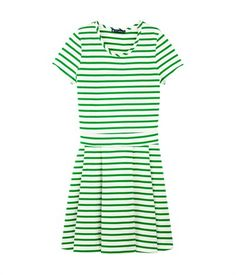 Women's breton striped heavy jersey dress Lait white / Feuille green - Petit Bateau