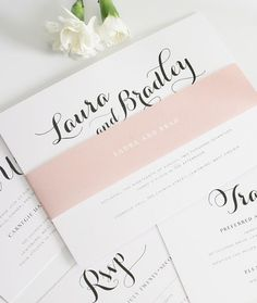 Script wedding invitation suite with blush pink belly band and enclosures - http://www.shineweddinginvitations.com/wedding-invitations/romantic-script-wedding-invitations  Shine Wedding Invitations, blush wedding invitations, wedding invitation, wedding i