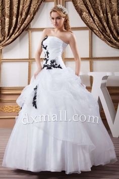 Ball Gown Wedding Dresses Strapless Ankle Length Organza Satin Ivory 010010200603