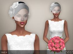 Wedding veil 02 for The Sims 4 by BEO