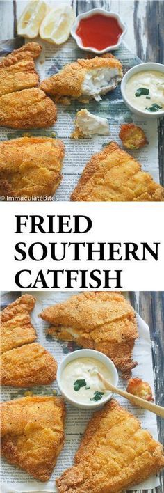 Southern Fried Cat Fish- Classic Southern Fried Catfish dipped in buttermilk and breaded in spicy seasoned cornmeal and fried to perfection. Fried cat fish conjures thoughts of finger-licking goodness and crispy crunch in every bite. When I bought these f Seafood Dinner, Fish And Seafood, Southern Fried Catfish, Seafood Recipes, Cooking Recipes, Fish Filet Recipes, Spicy Food Recipes, Salad Recipes, Fried Shrimp Recipes