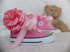 Etsy love..Swarovski Crystal Converse Infant All Star High Tops Sneakers www.InspiredRoom..... Cinderella is proof a pair of sparkly shoes can change a girl's life! Fit for a princess