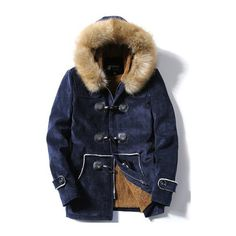 Faux Fur Hooded Flocking Toggle Coat (42.420 CLP) ❤ liked on Polyvore featuring men's fashion, men's clothing, men's outerwear, men's coats, jackets, outerwear and mens toggle coat