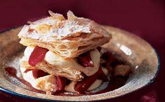 Millefoglie Con Crema Alla Grappa E Rabarbaro (millefoglie With Grappa Cream And Rhubarb) from Gourmet Magazine