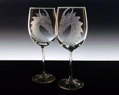 Matrimonio personalizzato vetro vino vetro impostare draghi