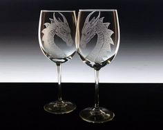 Wedding Glass Set  Dragons custom wine glass set dragons etched large wine glasses personalised