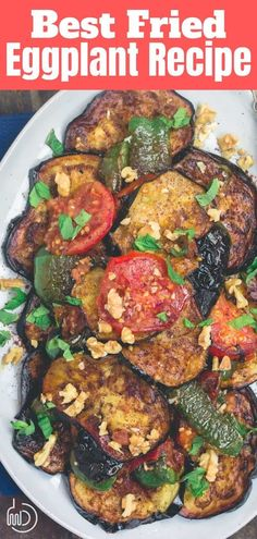 This tutorial is all you need to make the perfect vegan and gluten free fried eggplant recipe. No batter or breadcrumbs necessary! You'll love this delicious, Mediterranean-style eggplant recipe. If you've not made fried eggplant before, you'll want to grab her tips and serving ideas. #eggplant #friedeggplant #mediterraneanfood #mediterraneanrecipes #friedtomatoes #sidedish #vegan #glutenfree #glutenfreevegan #friedeggplantrecipes