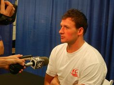 Ryan Lochte talking to the media after the final night at the Charlotte Grand Prix.