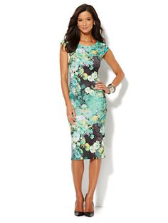 Shop Floral Print Scuba Midi Sheath Dress. Find your perfect size online at the best price at New York & Company.