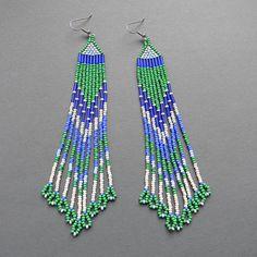 Extra Long  Seed Bead Earrings  dangle earrings by Anabel27shop