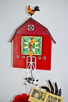 Michelle Allen Designs Whimsical RED BARNYARD Clock ships PRIORITY  in 24 hours #MICHELLEALLENDESIGNS #Contemporary