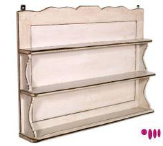 Esta repisa para la cocina es de madera lisa y puede sujetar muchas pequeñas cosas que sirven para cocinar.