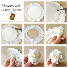 tutorial de flor hecha con blondas (Tutorial for roses made with paper doilies) Paper Doily Crafts, Doilies Crafts, Paper Flowers Diy, Handmade Flowers, Flower Crafts, Diy Paper, Paper Crafting, Fabric Flowers, Diy Lace Flowers