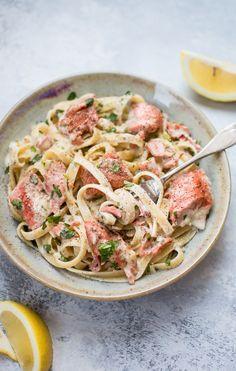 salmon pasta with a creamy garlic sauce.