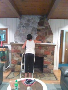Ugly Stone Fireplace Makeover