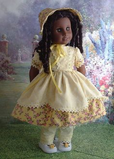 Yellow Plaid 1850's Dress and Bonnet for Cecile, Marie Grace, Addy