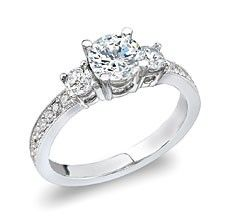 14kt White Gold Three Across Ring, center diamond .70ct, total diamond weight 1.25ct