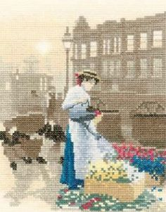 0 point de croix vendeuse de fleurs - cross stitch flowers seller