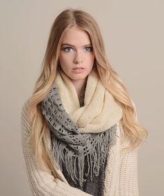 Gray and ivory infinity scarf