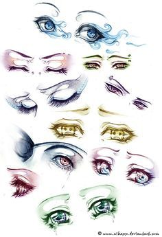 sad and angry anime eyes. The detail is amazing :) i wish i could draw like this…