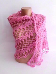 Pink Shawl  Handmade Crochet Mohair Hittite by kKnittedFashion, $63.00