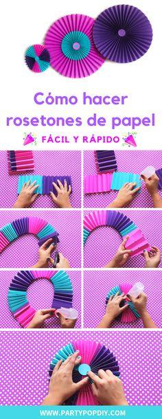 cómo hacer rosetones de papel diy fácil y rápido #rosetones #paperrosettes #diy #rosetonesdepapel #tutorial #manualidades #partyideas #decoracionfiestas #fiestas #partydeco
