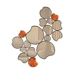 "Waterlily Mirror - With 15 reflective #surfaces resembling ""lily pads"", the Waterlily is an #organic #mirror that easily evokes #nature into living rooms. Three #decorative surfaces made with #ironwood adorn this #contemporary mirror, putting the final touches on a piece that is a perfect fit in select #environments that strive for a nature inspired #design."
