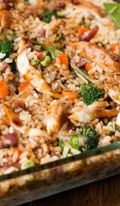 Teriyaki Chicken Casserole (like this idea but I would use LOTS more veggies and no peas!)