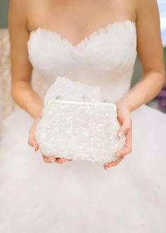 Toni chose to accessorize with a sparkly white sequin clutch for her wedding day. Bridal Clutch Bag, Wedding Clutch, Wedding Bag, Wedding Ideas, Clutch Purse, Wedding Shoes, Bridal Gowns, Wedding Dresses, White Bridal