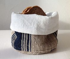Bread basket made in Italy from vintage hemp, dark blue striped fabric, linen lining