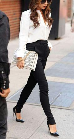 Black and White always classy - adore the pointy heels