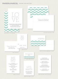 Minimalist Wedding Invitation Simple von paperandparcel auf Etsy