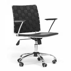 Swivel up to the desk in this black-leather office chair by Vittoria. The sleek, modern design and chrome finish will blend well with any of todays contemporary office settings. Great for the workplace or an at-home office space.