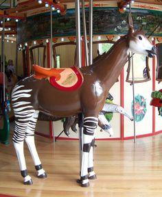 Okapi stander- The 2010 Carousel Works Carousel at Calgary Zoo, Botanical Garden & Prehistoric Park