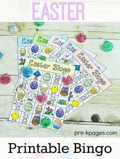 Fun printable Easter bingo game for your preschool, pre-k, or kindergarten classroom. Easter Bingo, Easter Games, Easter Activities, Easter Party, Holiday Activities, Easter Hunt, Spring Activities, Easter Eggs, Spring Theme