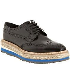Prada black leather 'Creeper' striped platform oxfords | BLUEFLY up to 70% off designer brands ($500-5000) - Svpply