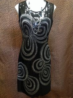 Damee, Inc. - All over sequin dress with silver swirl pattern - $109