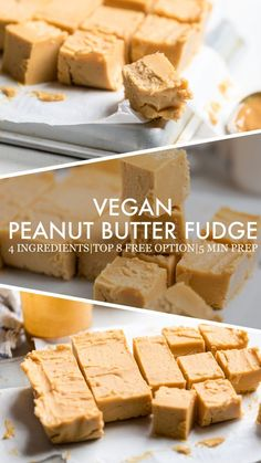 One of the easiest vegan dessert recipes that you will ever come across is this super simple vegan peanut butter fudge! Can be Top 8 Free! Fudge Recipes, Vegan Sweets, Healthy Dessert Recipes, Chocolate Recipes, Chocolate Tarts, Chocolate Fudge, Candy Recipes, Paleo Dessert, Paleo Peanut Butter
