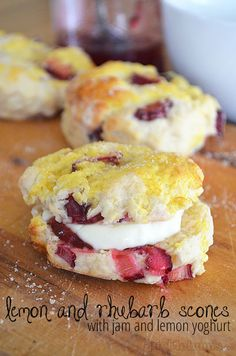 Rhubarb and Lemon Scones - with jam and lemon yoghurt!  Yum!  Always looking for stuff to do with rhubarb!