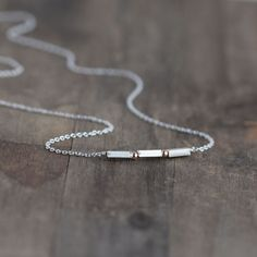 Minimalist Tiny Silver Necklace / Sterling Silver and by burnish, $28.00