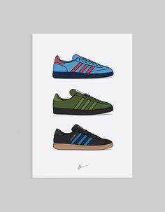 Image of Spezial Manchester Collection Ultras Football, Shoes Vector, Cool Trainers, Shoe Poster, Casual Art, Adidas Spezial, Football Casuals, Sneaker Art, Character Sketches