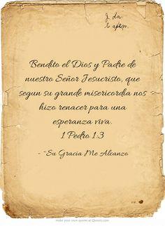 Bendito el Dios y Padre de nuestro Señor Jesucristo, que segun su grande misericordia nos hizo renacer para una esperanza viva. 1 Pedro 1:3