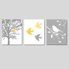 Modern Bird Trio - Set of Three 8 x 10 Prints - in Gray, Yellow, Orange, Purple, Blue, and More - Perfect for Nursery. $55.00, via Etsy.