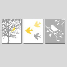 Modern Bird Trio - Set of Three 11 x 14 Prints - in Gray, Yellow, Orange, Purple, Blue, and More - Perfect for Nursery. $59.50, via Etsy.